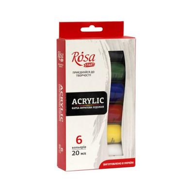 Набір акрилових фарб, 6 кольорів по 20мл., ROSA START