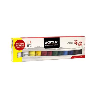 Набір акрилових фарб, 11 кольорів по 20мл., ROSA START