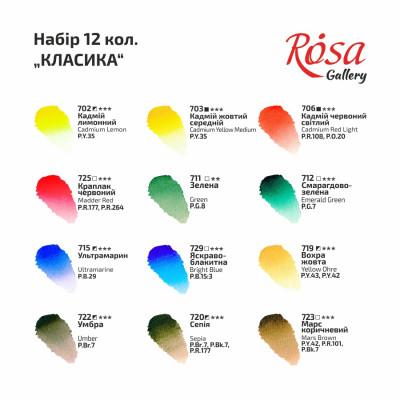 Набір акварельних фарб - Класика, ROSA Gallery, 12 кольорів, кювета, картон