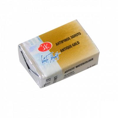 Античне золото, акварельна фарба, металік, кювета 2.5 мл., ЗХФ Білі Ночі 981