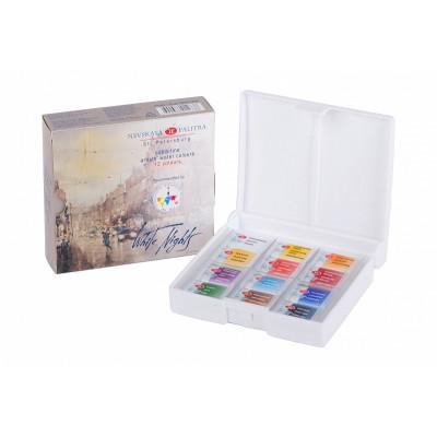 Набір акварельних фарб Білі ночі IWS, 12 кольорів в кюветах, пластковая коробка, ЗХФ Невська Палітра