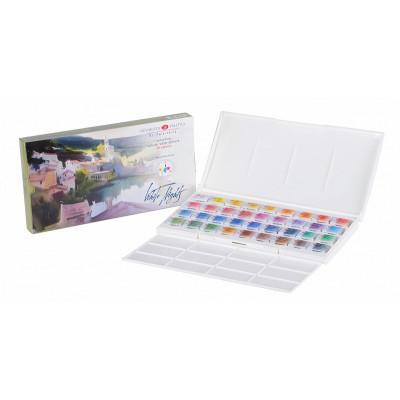 Набір акварельних фарб Білі ночі IWS, 36 кольорів в кюветах 2.5 мл., пластикова коробка, ЗХФ Невська Палітра 19421244