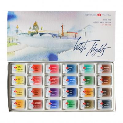 Набір акварельних фарб Білі Ночі, 24 кольори в кюветах 2.5 мл., картон 1941061
