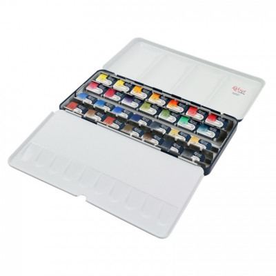 Набір акварельних фарб Класика в металевому пеналі, 28 кольорів, кювета, ROSA Gallery