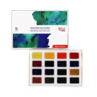 Набір акварельних фарб 16 кольорів в кюветах, ROSA Studio 340204