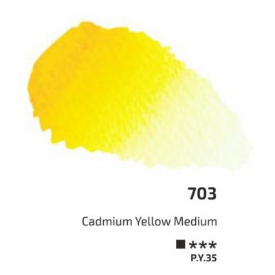 Кадмій жовтий середній акварельна фарба, 2.5 мл, ROSA Gallery 703