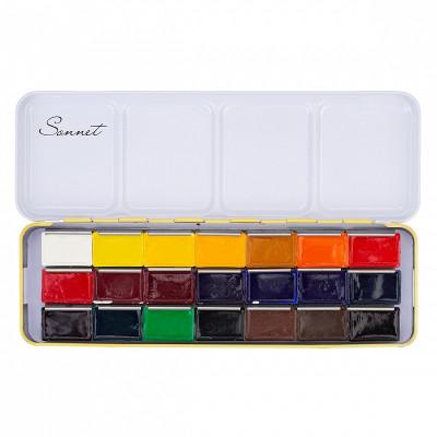 Набір акварельних фарб Сонет, 21 колір в кюветах 2.5 мл., металевий пенал, ЗХФ Невська Палітра 351101514