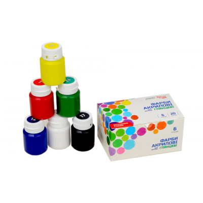 Набір глянцевих акрилових фарб, 6 кольорів по 20 мл