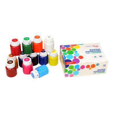 Набір глянцевих акрилових фарб, 12 кольорів по 20 мл, ROSA TALENT