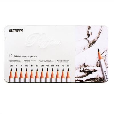 Набір графітових олівців, 12 шт. 2H-8B, в металевому пеналі, MARCO Raffine . 7000M-12TN