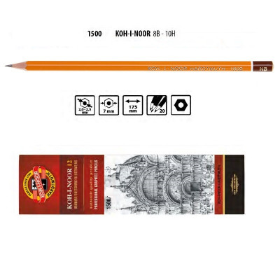 Олівець графітний 1500 HВ, KOH-I-NOOR