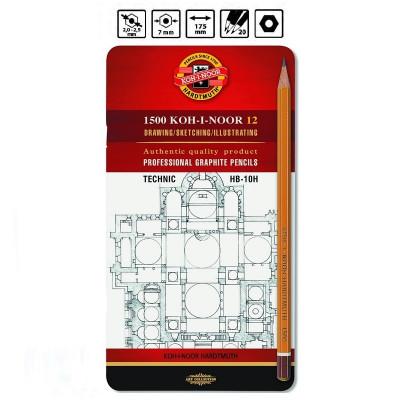 Набір. 12-ть олівців чорнографітних, HB-10H, металева коробка 1502/I KOH-I-NOOR