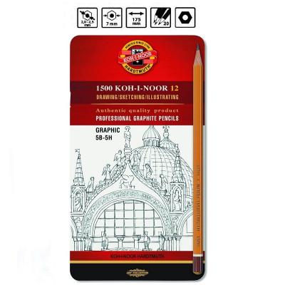 Набір графітних олівців Koh-I-Noor, 12шт., 5B-5H, 1502 / III