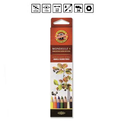 Олівці акварельні кольорові, 6 кольорів, ТМ KOH-I-NOOR, Mondeluz