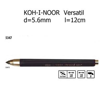 Механічний цанговий олівець KOH-I-NOOR Versatil. 5347. d=5.6mm. 12см. Чорний.