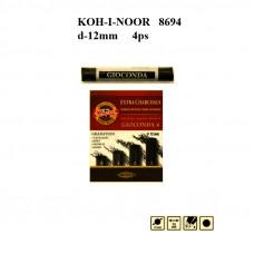 Набір вугілля хдожнього, d12mm, чорне, 4шт. різної твердості-мякості. KOH-I-NOOR 8694