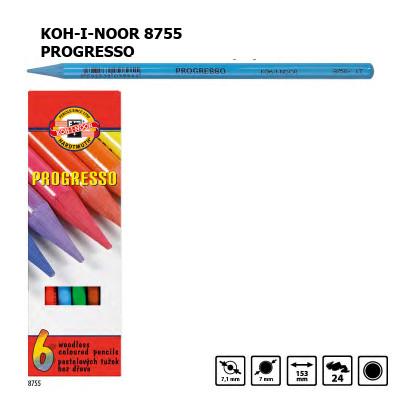 Набір кольорових бездеревних олівців KOH-I-NOOR 8755, 6 кольорів, PROGRESSO, лаковий корпус