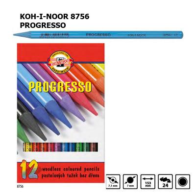 Набір кольорових бездеревних олівців KOH-I-NOOR 8756, 12 кольорів, PROGRESSO, лаковий корпус