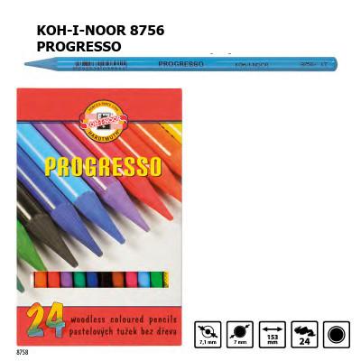 Набір кольорових бездеревних олівців KOH-I-NOOR 8758, 24 кольори, PROGRESSO, лаковий корпус