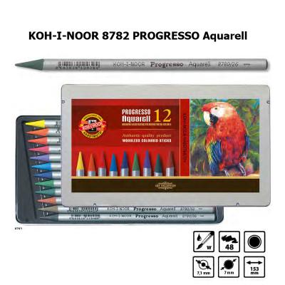 Набір акварельних бездеревних олівців 12 кольорів KOH-I-NOOR 8782 PROGRESSO Aquarell, лаковий корпус