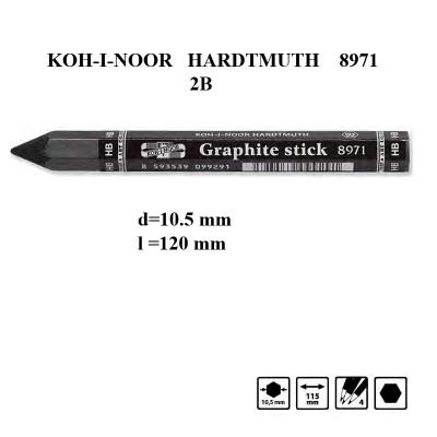 Олівець чорнографітний бездеревний, 2B, товстий, d10.5mm, L120mm, KOH-I-NOOR HARDTMUTH 8971/2B