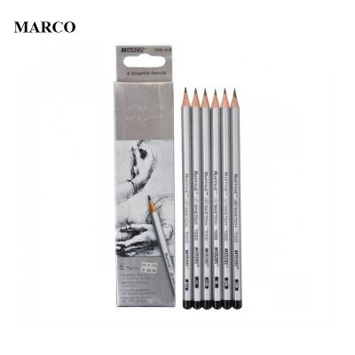 Набір графітових олівців, 6 шт. різної твердості/м'якості, MARCO Raffine 7000-6CB