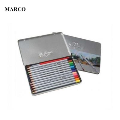 Набір кольорових акварельних олівців, 12 кольорів, в металевому пеналі, MARCO Raffine 7120-12TN