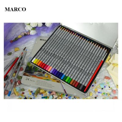 Набір кольорових акварельних олівців, 24 кольори, в металевому пеналі, MARCO Raffine 7120-24TN
