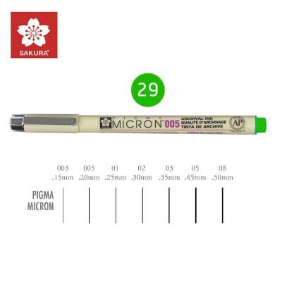 Зелений Лінер 0.2мм, PIGMA Micron (0.05), Sakura