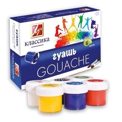Набір гуашевих фарб, КЛАСИКА ТМ Луч (Ярославль), 6 кольорів по 20мл
