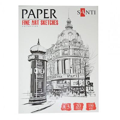 Набір паперу для графіки, A3, 20л., 190г/м2, SANTI