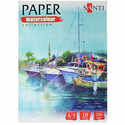 Набір паперу для акварелі, A3, 18л., 200г/м2, SANTI Travelling