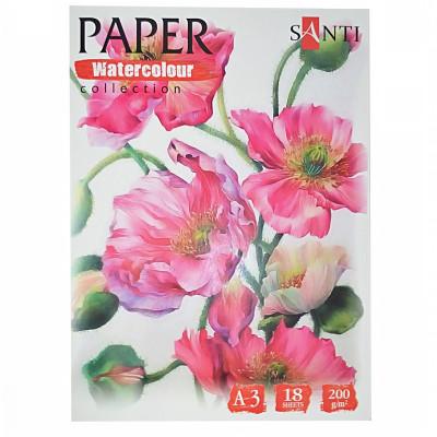 Набір паперу для акварелі, A3, 18л., 200г/м2, SANTI Floristics