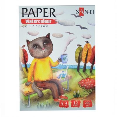 Набір паперу для акварелі, A3, 12л., 200г/м2, SANTI Wonderland