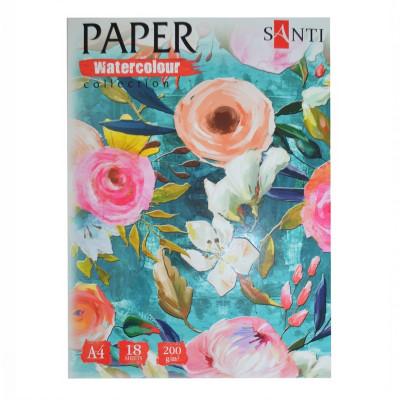 Набір паперу для акварелі, A4, 18л., 200г/м2, SANTI Floristics