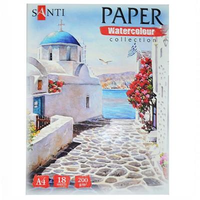 Набір паперу для акварелі, A4, 18л., 200г/м2, SANTI Travelling