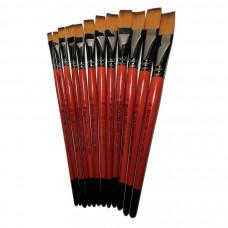 Синтетика плоска, № 2, KOLOS 1097F Carrot, коротка ручка, художній пензель