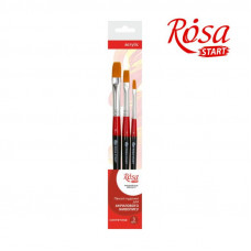 Набір пензлів, 3 шт., Синтетика плоска (№4,8,12), ROSA Studio 3