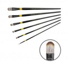 Синтетика овальна, № 2, KOLOS 1017 Yellow stripe, довга ручка, художній пензель