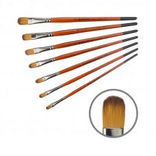 Синтетика овальна, № 2, KOLOS 1097FR Carrot, коротка ручка, художній пензель
