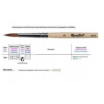 Колонок круглий, № 00, Roubloff 1010, коротка ручка, художній пензель