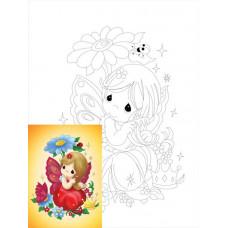 Полотно для дітей на картоні з контуром, бавовна, Мультфільм №16, 20x30 см