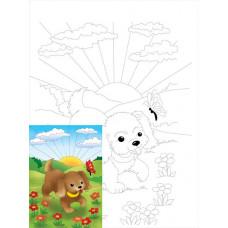 Полотно для дітей на картоні з контуром, бавовна, Мультфільм №18, 20x30 см