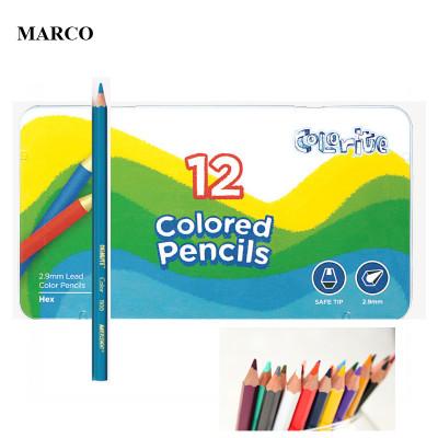 Набір кольорових олівців. 12 кольорів в металевому пеналі, MARCO Colorite 1100-12TN