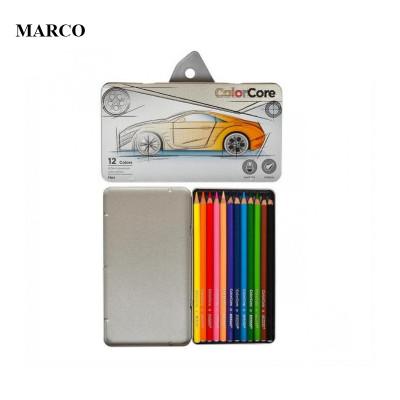 Набір кольорових олівців, 12 кольорів в металевому пеналі, Marco ColorCore 3100-12TN