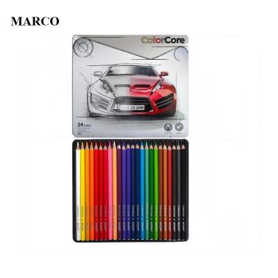 Набір кольорових олівців, 24 кольори в металевому пеналі, Marco ColorCore 3100-24TN