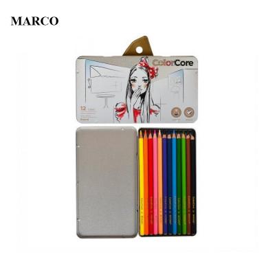 Набір кольорових олівців, 12 кольорів в металевому пеналі, Marco ColorCore 3130-12TN