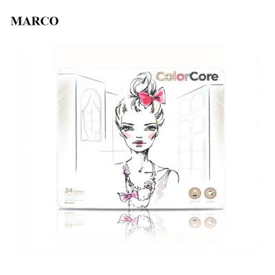 Набір кольорових олівців, 24 кольори в металевому пеналі, Marco ColorCore 3130-24TN