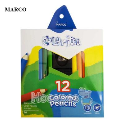 Набір кольорових олівців, 12 кольорів, тригранні, 9.6мм., Marco Colorite 1450-12CB