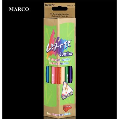 Набір кольорових тригранних олівців, 12 кольорів з точилкою, Marco Marco Grip-rite Jumbo 9400-12CB